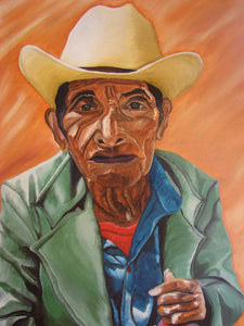 "Diego Mendoza Large Oil Painting - Old Man with Hat  (P-L-DM-001) 24"" x 35"" (LARGE)"
