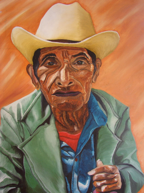 Diego Mendoza Large Oil Painting - Old Man with Hat  (P-L-DM-001) 24