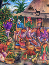 "Antonio Coche Mendoza Large Oil Painting - Mayan Coffee Harvest and Processing (P_L_ACM_20E) 30"" x 40"""