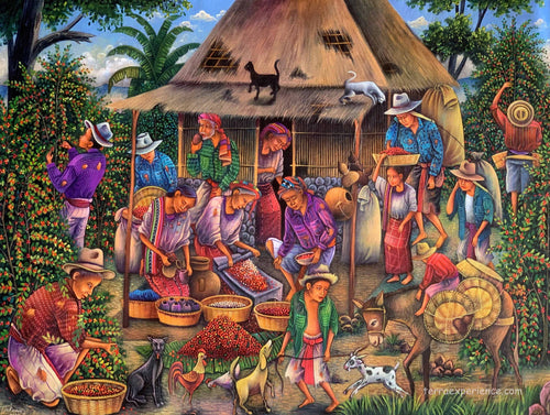 Antonio Coche Mendoza Large Oil Painting - Mayan Coffee Harvest and Processing (P_L_ACM_20E) 30