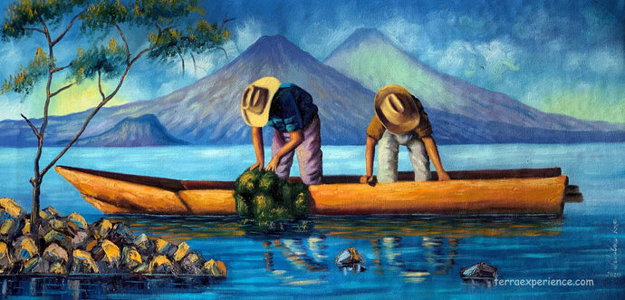 Aliix Mendoza Large Oil Painting - Fishing Lake Atitlan (P-L-AM-20D) 16