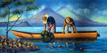 "Aliix Mendoza Large Oil Painting - Fishing Lake Atitlan (P-L-AM-20D) 16"" x 19.5"""