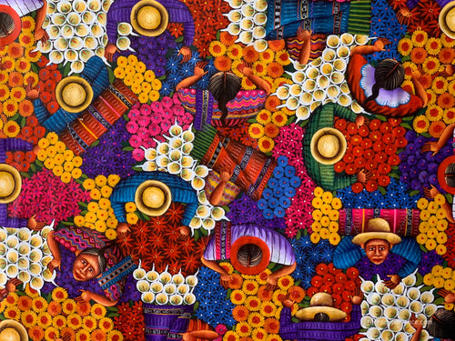 Angelina Quic Large Oil Painting - Mayan Flower Market Overhead  (P-L-AQ-20P-H) 30