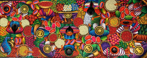 "Angelina Quic Large Oil Painting - Mayan Market Overhead  (P-L-AQ-20S-D) 20""x50"" (LARGE)"