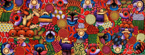 "Angelina Quic Large Oil Painting - Mayan Market Overhead  (P-L-AQ-20T-C) 20""x50"" (LARGE)"