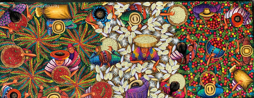 Angelina Quic Large Oil Painting - Mayan Harvest Overhead  (P-L-AQ-20U-B ) 20