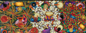 "Angelina Quic Large Oil Painting - Mayan Harvest Overhead  (P-L-AQ-20U-B ) 20""x50"" (LARGE)"