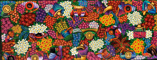 Angelina Quic Large Oil Painting - Mayan Flower Market Overhead  (P-L-AQ-20W) 20
