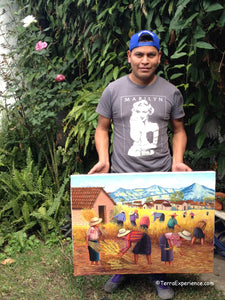 "Domingo Coche Mendoza Large Oil Painting - Mayan Wheat Harvest in Nahuala  (P-L-DoCM-19A) 24"" x 32"" (LARGE)"