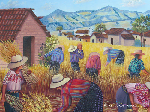 Domingo Coche Mendoza Large Oil Painting - Mayan Wheat Harvest in Nahuala  (P-L-DoCM-19A) 24