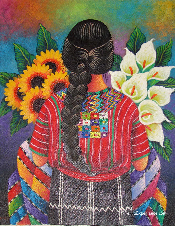 Domingo Coche Mendoza Large Oil Painting - Mayan Woman from San Juan Laguana - Espalda (Back) View  (P-L-DoCM-19B) 16