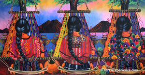 "Elizabeth Mendoza Large Oil Painting - Women Weaving, Back (Espalda) View (P-L-EM-20A) 15"" x 30"""
