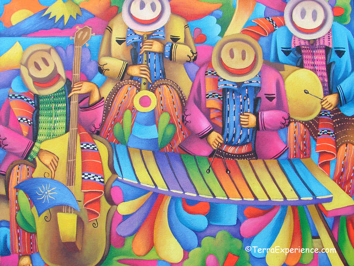 Juan Perez Large Oil Painting - Mayan Marimba and Musicans  (P-L-JP-19A) 24