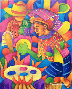 "Juan Perez Oil Painting - Mayan Woman Making Tortillas  (P-M-JP-19C) 9""x11"""