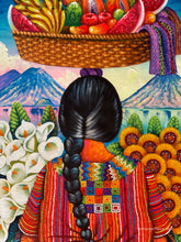 Domingo Coche Mendoza Large Oil Painting - Mayan Woman with Basket - Espalda (Back) View  (P-L-DoCM-20A) 24 x 32