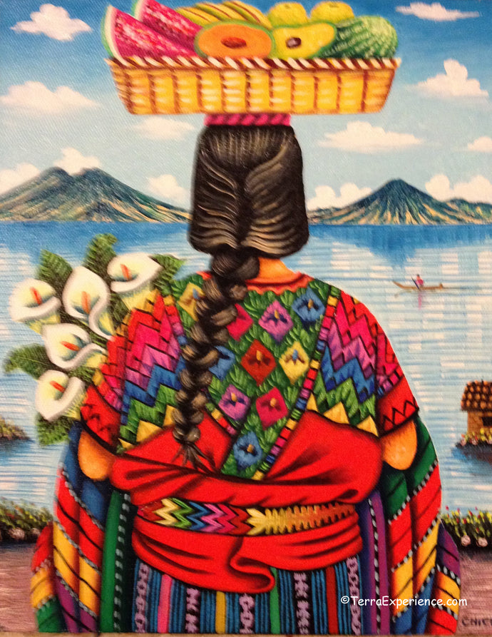 Antonio Coche Mendoza Oil Painting - Mayan Woman from Chichicastenango - Espalda View  (P-M-ACM-19A)