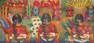 "Antonio Coche Mendoza Oil Painting - Three Mayan Woman  - Espalda View  (P-M-ACM-19C) 15""x7"""