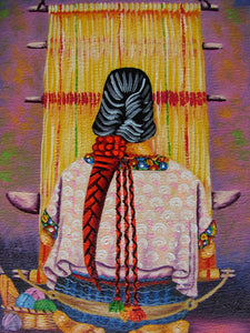 "Unsigned Oil Painting - Mayan Weaver from Coban - Espalda View  (P-M-UNK-09)  5""x7"""