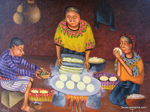 "Rafael Gonzoles Oil Painting - Mayan Woman Making Tortillas  (P-M-RG-002)  9""x11"""