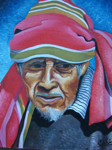 "Calin Sapalu Mendoza Oil Painting - Mayan Man . (P-M-CMS-005) 9"" x 11"""
