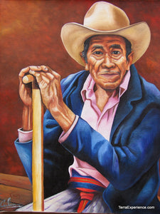 "Calin Sapalu Mendoza Large Oil Painting - Man with a Hat and a Walking Stick (P-L-CMS-006) 16"" x 20"""