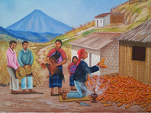 "Feliciano Bal Large Painting - Appreciation of the Corn Harvest 16"" x 22""  (P-L-FB-001)"