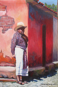 "Juan Tiney Large Oil Painting - Mayan Man -  (P-L-JT-001) 12"" x 18"""
