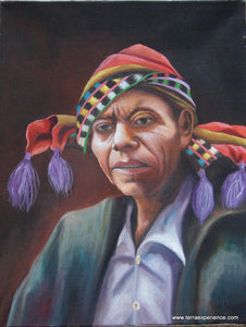 "Juan Tiney Large Oil Painting - Man from Santiago Atitlan -  (P-L-JT-003) 12"" x 16"""