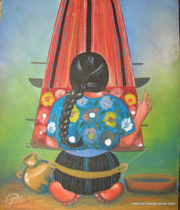 "Unsigned Oil Painting - Mayan Woman  - Espalda View  (P-M-UNK-G-001)  9""x11"""