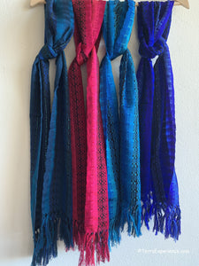 "Scarves: Beautiful Rayon Jewel Color Scarves with Fringed Ends 8"" x 52"" from San Antonio Palopo, Guatemala"
