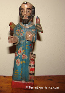 Santos:  Medium - San Francisco de Aisi  (Saint Francis) Wood Carving with Birds on Shoulder