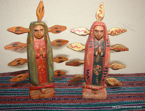 "Santos:  Small - Guadalupe 5"" Wood Carving  (Option 001 )"