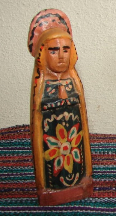 Santos:  Small - Virgin Dolores Wood Carving  (4.5