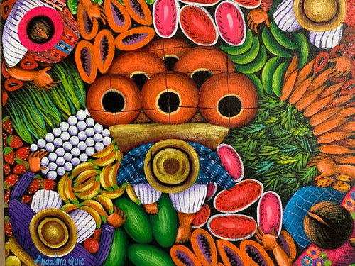 Angelina Quic Oil Painting - Mayan Fruit and Flower Market  (P-M-AQ9-20N) 9