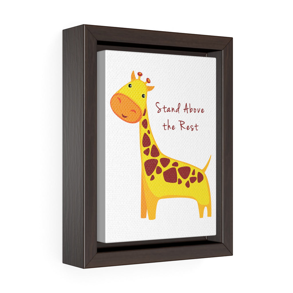"Giraffe ""Stand Above The Rest"" Vertical Framed Premium Gallery Wrap Canvas"