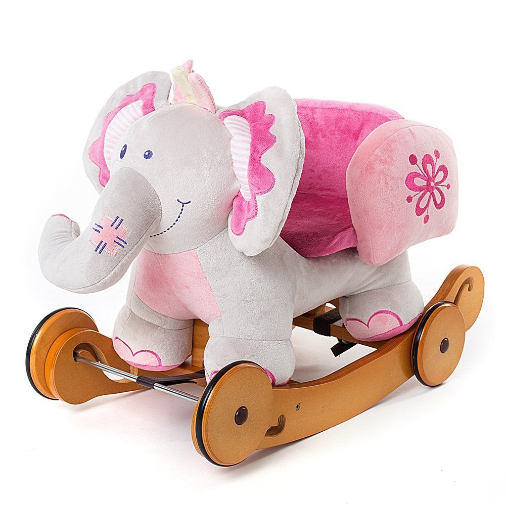 Labebe Modern Plush Rocking Horse with Padded Animal for Little Toddlers Kids Baby Boys & Girls (6-36 Months) Indoor Ride On Toys Rockers with Wheels and Sound Paper - Cute Stuffed Pink Elephant