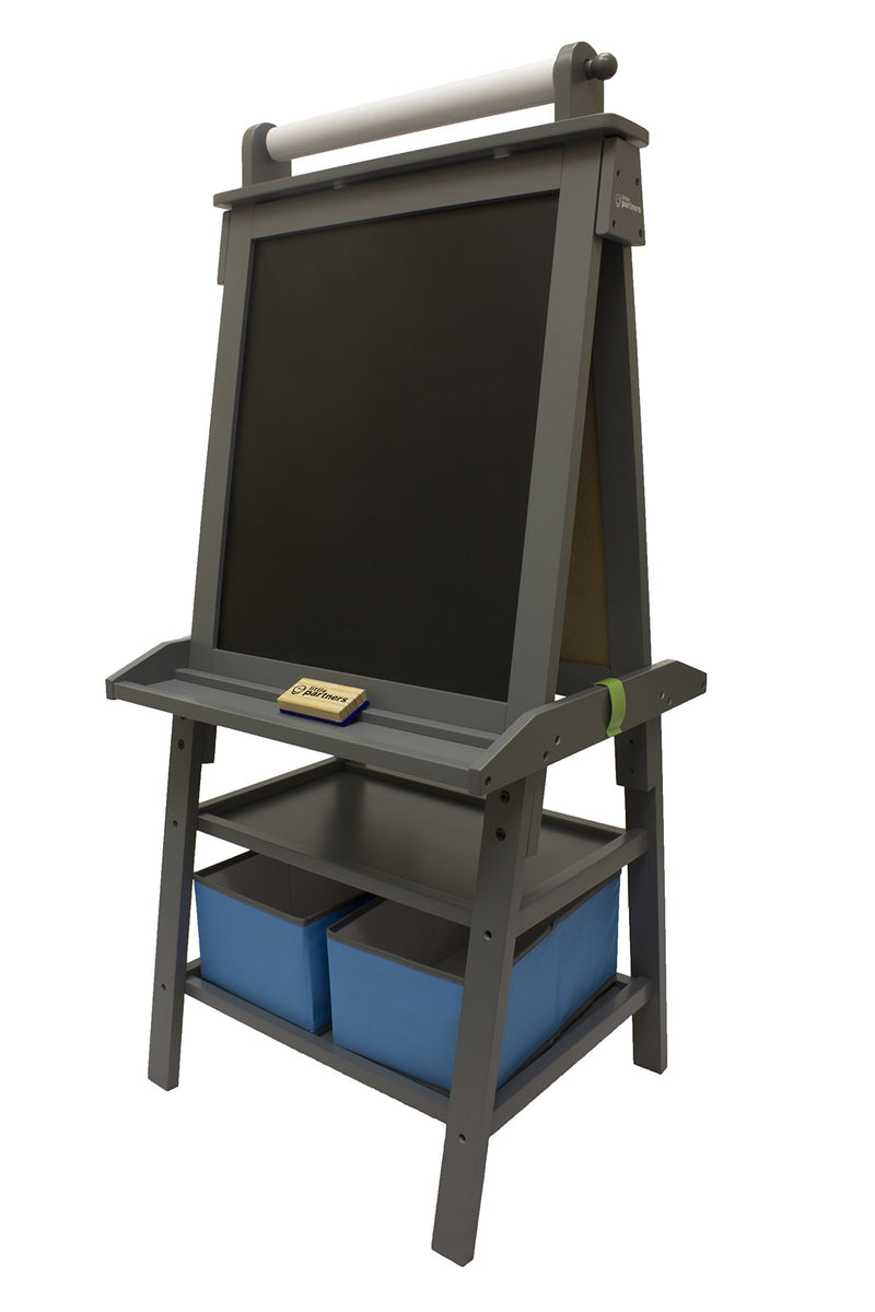 Little Partners 2-Sided A-Frame Art Easel with Chalk Board Magnetic Dry Erase Storage Paper Feed and Accessories for Toddlers Earl Grey