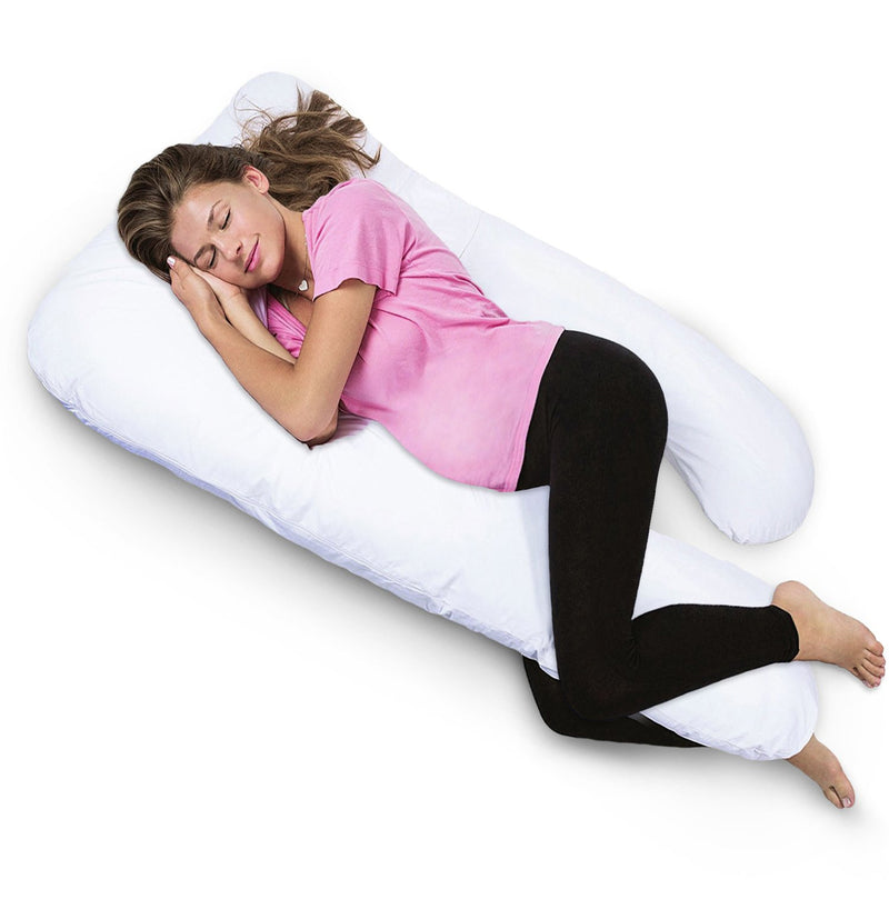 PharMeDoc Full Body Pregnancy Pillow - U Shape + Detachable Extension for Belly & Back Support - Nursing & Maternity Pillow - Contoured Body Support Pillow for Pregnant Women - Back & Side Sleepers