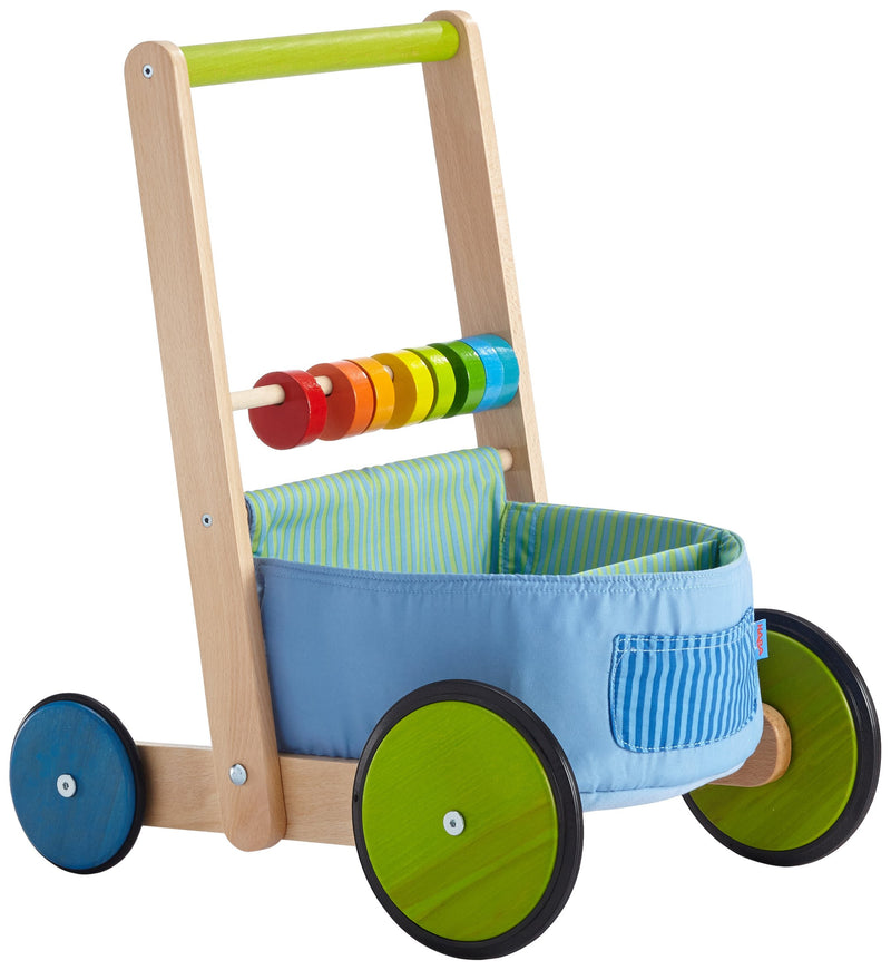 HABA Color Fun Walker Wagon - Push Toy with Wood Frame Fabric Compartments and Large Sturdy Wheels