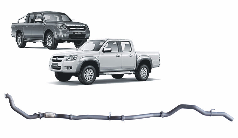 Pipe Only system to suit FORD RANGER PJ, PK (2006 - 2011), MAZDA BT-50 CD (2006 - 2011)
