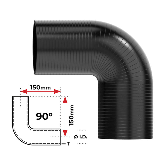 "ID 2-3/4""(70mm), Black, 90 bend"