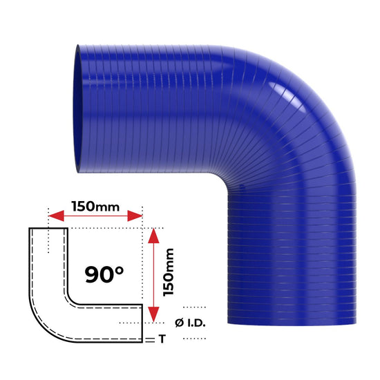 "ID 4""(101mm), Blue, 90 bend"