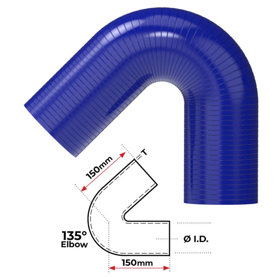 "ID 1-3/8""(35mm), Blue, 135 bend"