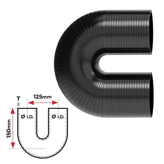 "ID 2-1/4""(57mm), Black, 180 bend"