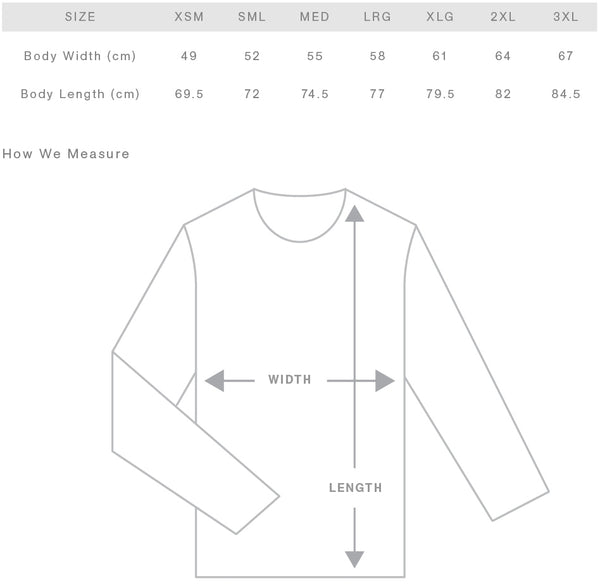 Adult Hoodie Size Chart