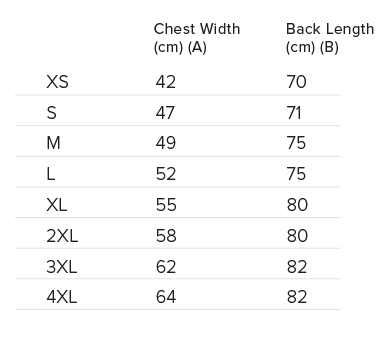 Adult Singlet Size Chart