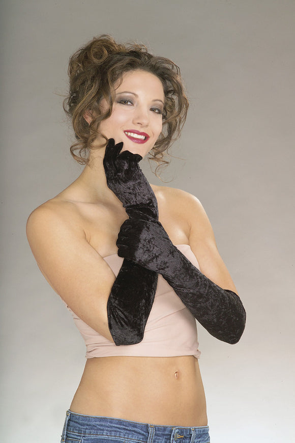 GLOVES - BLACK VELVET, LONG