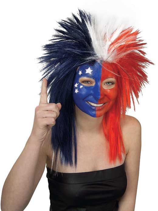 SPORT FANATIC RED/WHITE/BLUE WIG - ADULT