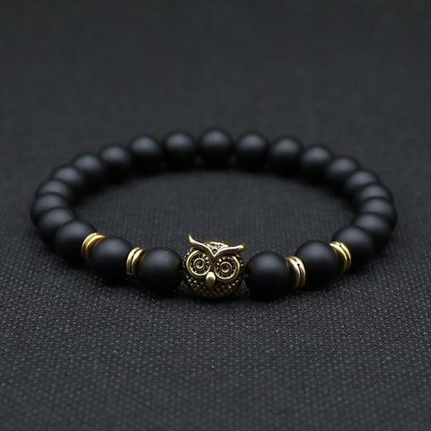 Antique Animal Owl Head Bracelet Made With Natural Black Lava Rock Stone