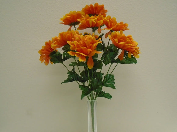 2 Bushes Gerbera Daisy 10 Artificial Silk Flowers 18